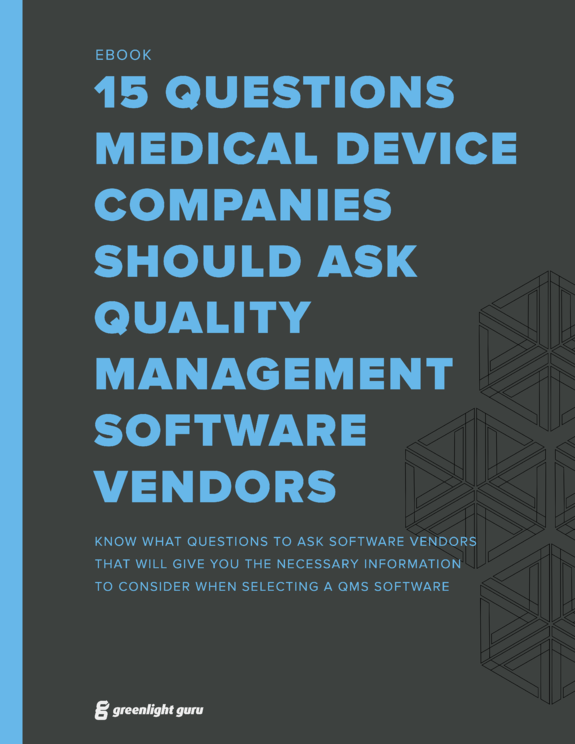 (cover) 15 Questions Medical Device Companies Should Ask QMS Software Vendors