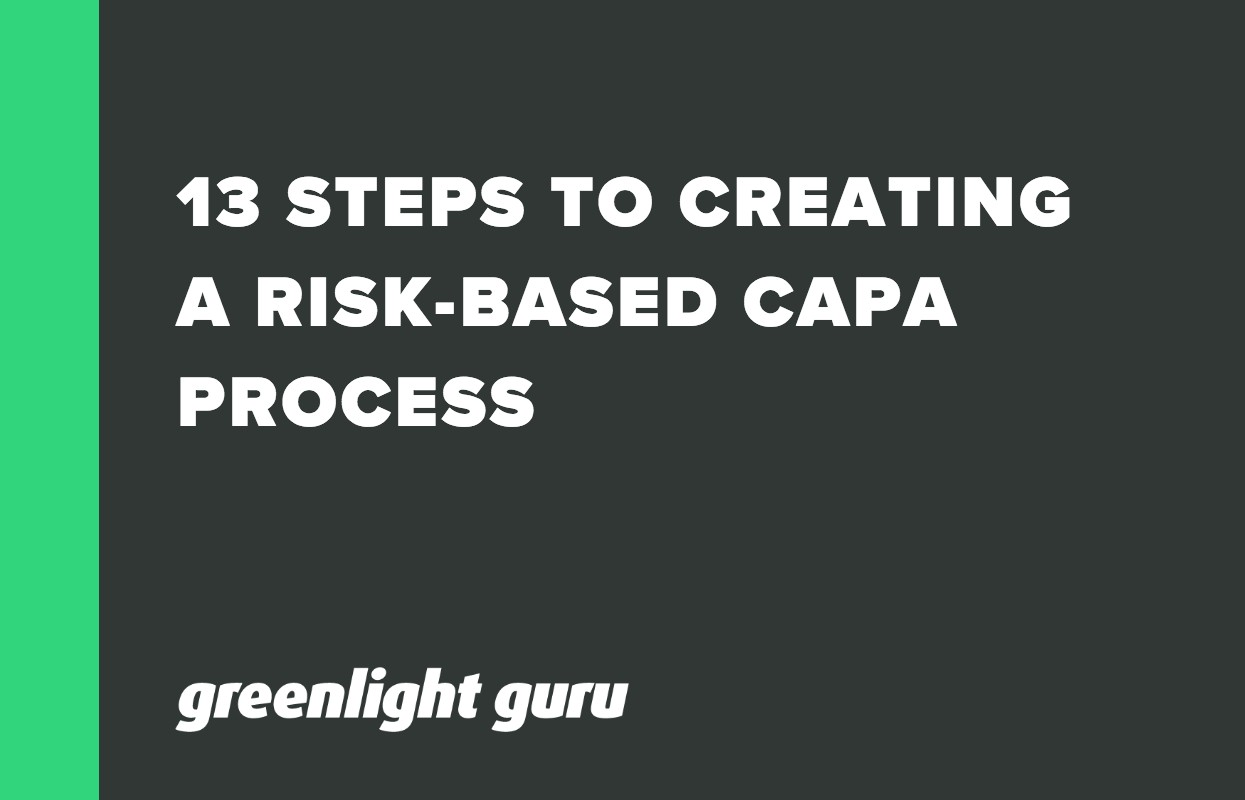 13 STEPS TO CREATING A RISK-BASED CAPA PROCESS