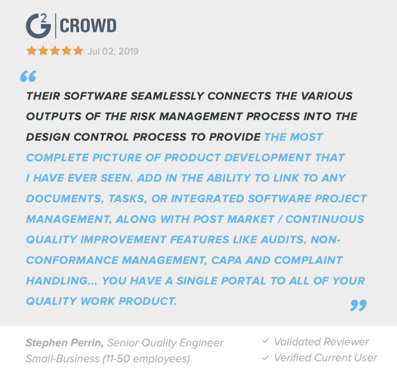 g2-review-greenlight-guru-medical-device-qms-software-vendor-risk-management-design-controls