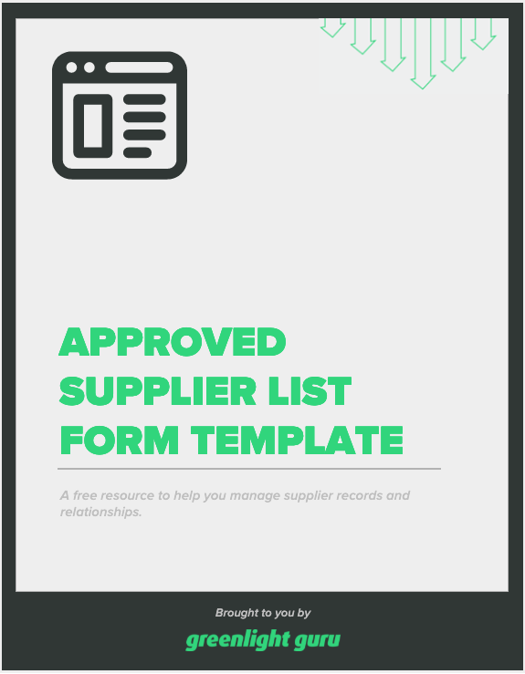 Approved Supplier List Form Template - slide-in cover