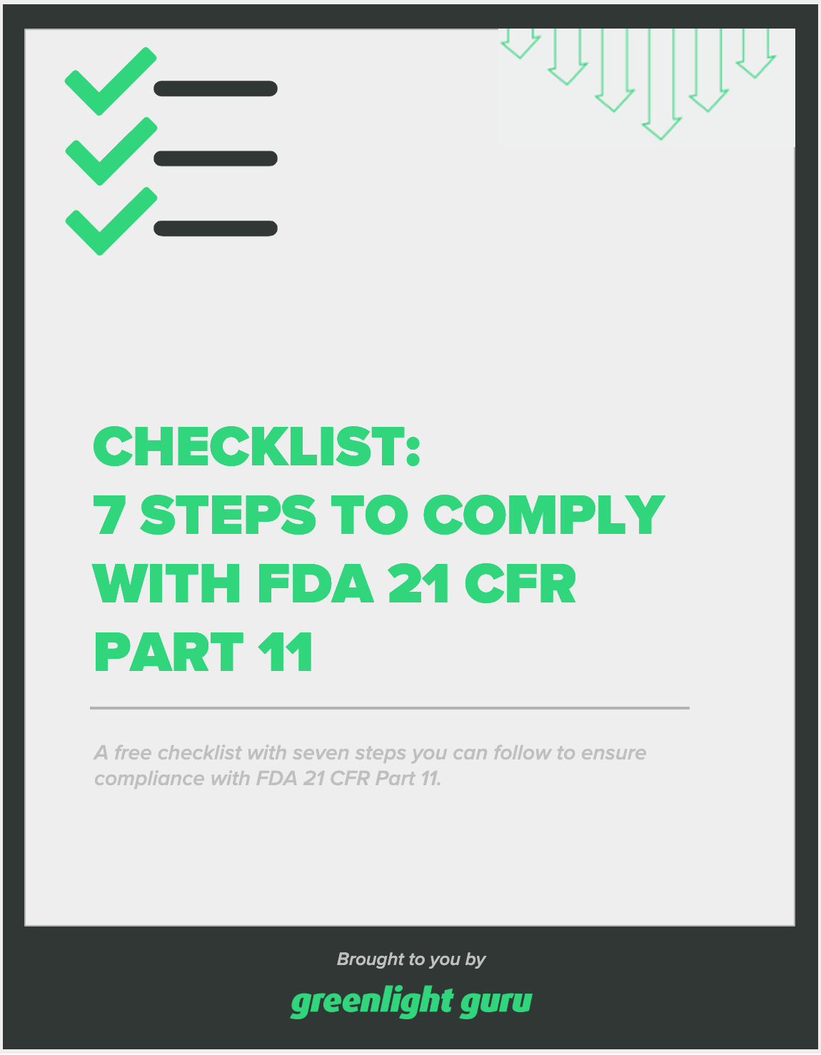 Checklist_7 Steps to Comply with FDA 21 CFR Part 11 - slide-in cover