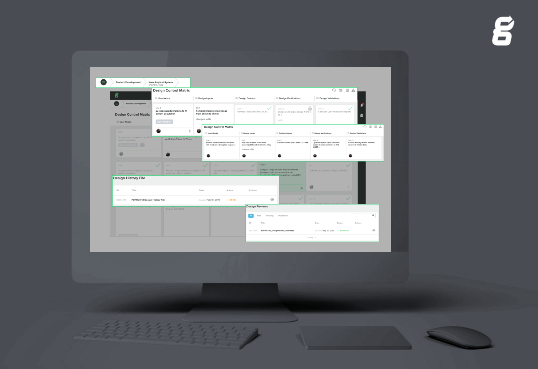Design control traceability matrix in Greenlight Guru's MDQMS software
