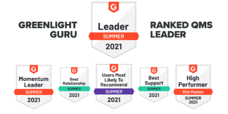 Customers Rank Greenlight Guru Leader in QMS and Medical QMS Software in G2 Grid Reports for Summer 2021 - Featured Image