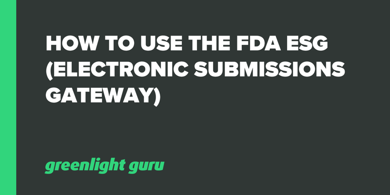 How to Use the FDA ESG (Electronic Submissions Gateway)