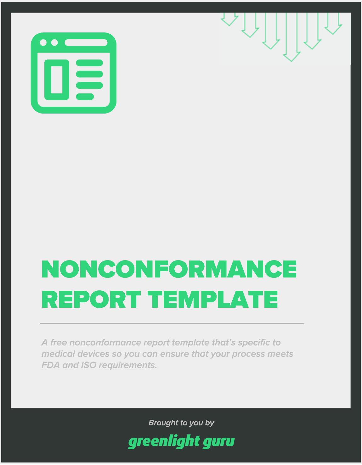 Nonconformance report template - slide-in cover