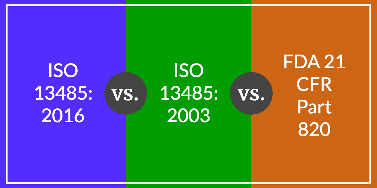 Iso 13485 2016 Vs Iso 13485 2003 Vs Fda 21 Cfr Part 820